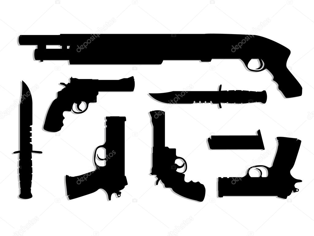 Silhouette guns equipment - isolated illustration — Stock Vector #6822471