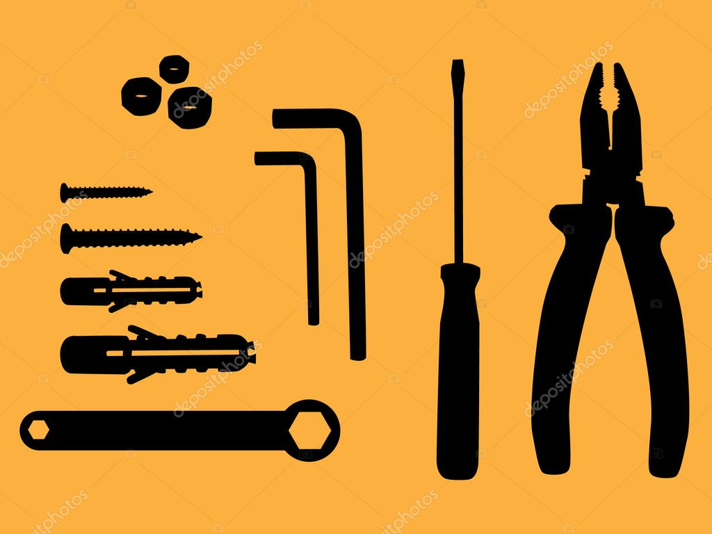 Household tool silhouette illustration — Stock Vector #6822536