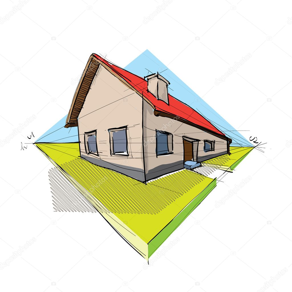 Family house in perspective 3d - illustration — Stock Vector #6822561