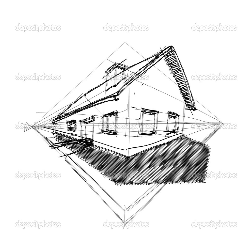 Family house in perspective 3d - outline illustration — Stock Vector #6822574