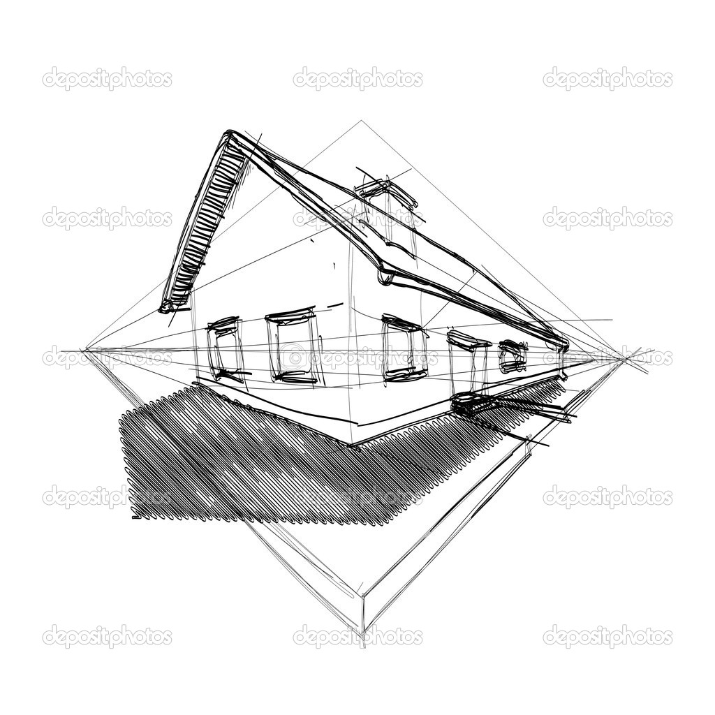 Family house in perspective 3d - illustration  Stock Vector #6822576