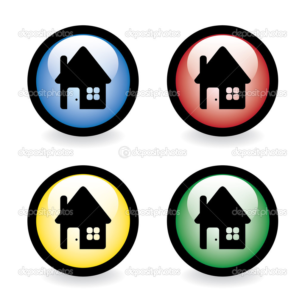 Glossy buttons with house - illustration — Stock Vector #6822584