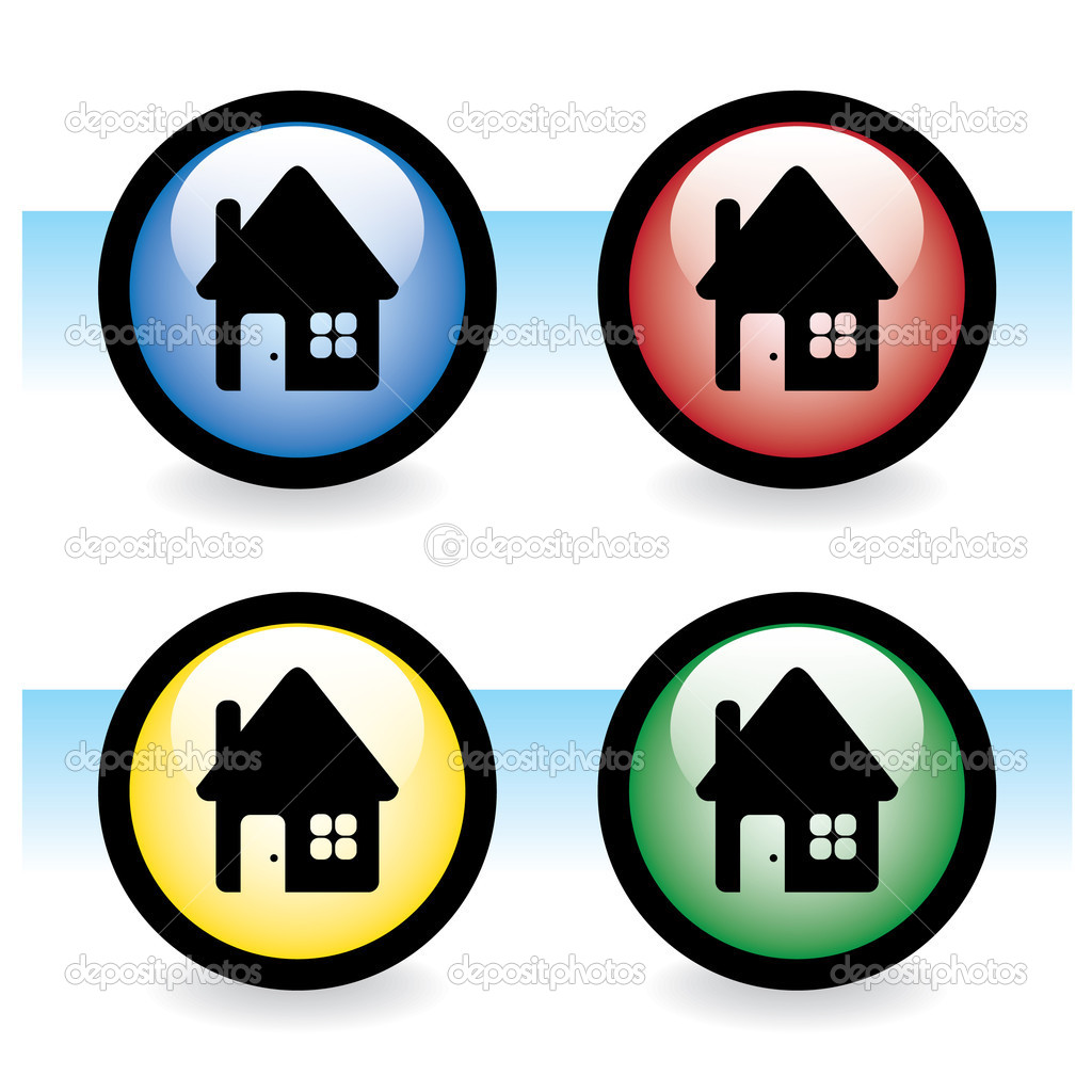 Glossy button with house - illustration — Stock Vector #6822586