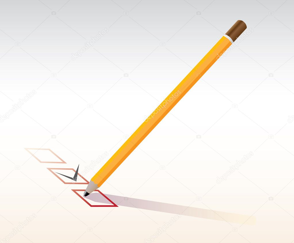 Checkbox with pencil - realistic illustration  Stock Vector #6822594