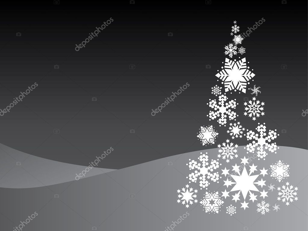 Chrismas tree from snowflakes illustration — Stock Vector #6822602