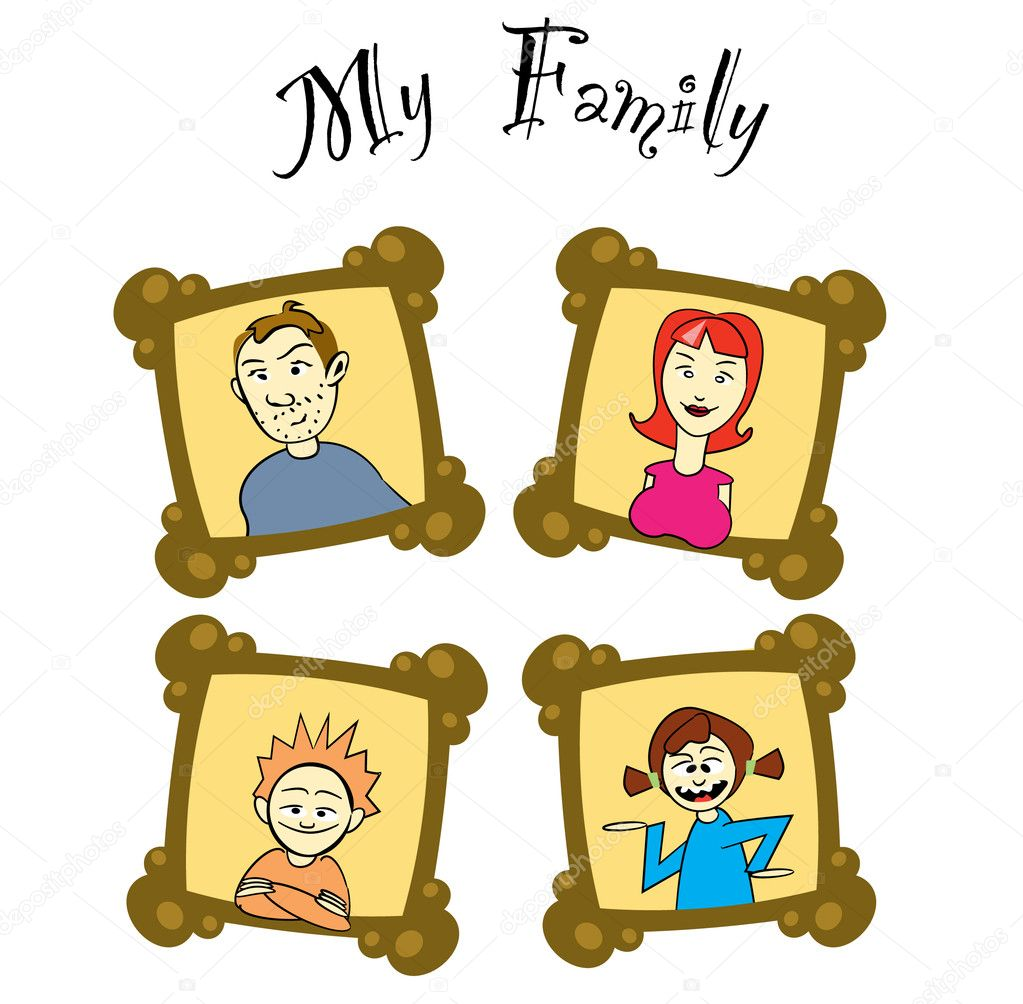 My family on frames - illustration — Stock Vector #6822802