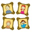 Family on frames — Stock Vector