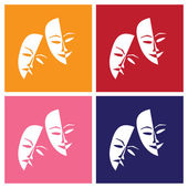 Theatre masks lucky sad — Stock Vector