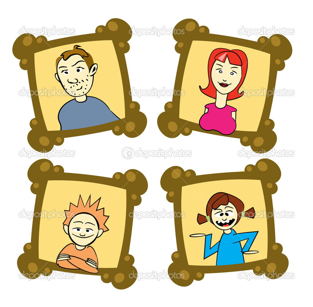 My family on frames - illustration — Stock Vector #6831282