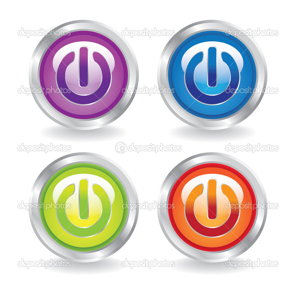 EPS10 set of power buttons switch- illustration — Stock Vector #6831509