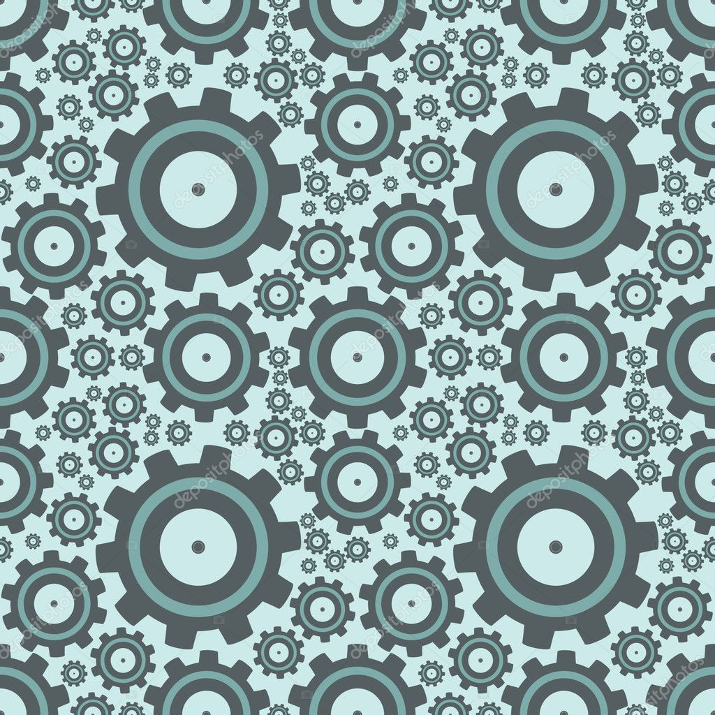 Set of gears, seamless pattern illustration  Imagen vectorial #6831751
