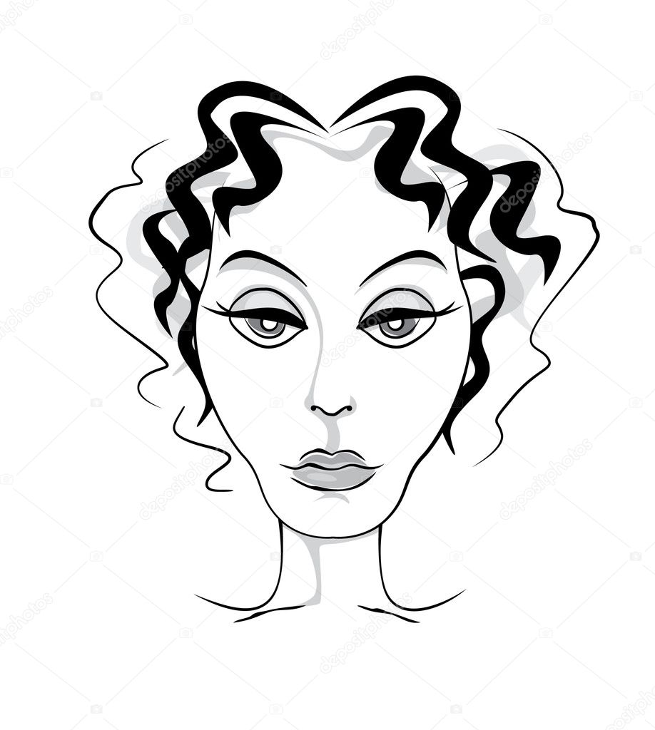 Mature woman head front ink illustration