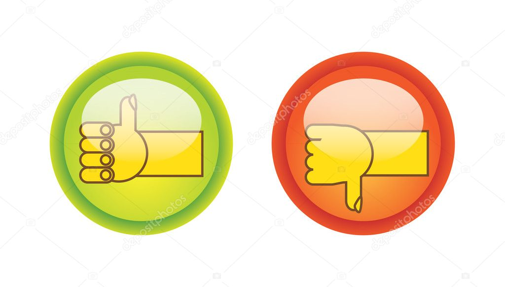 EPS10 thumb up and down on glossy buttons illustration   #6832061