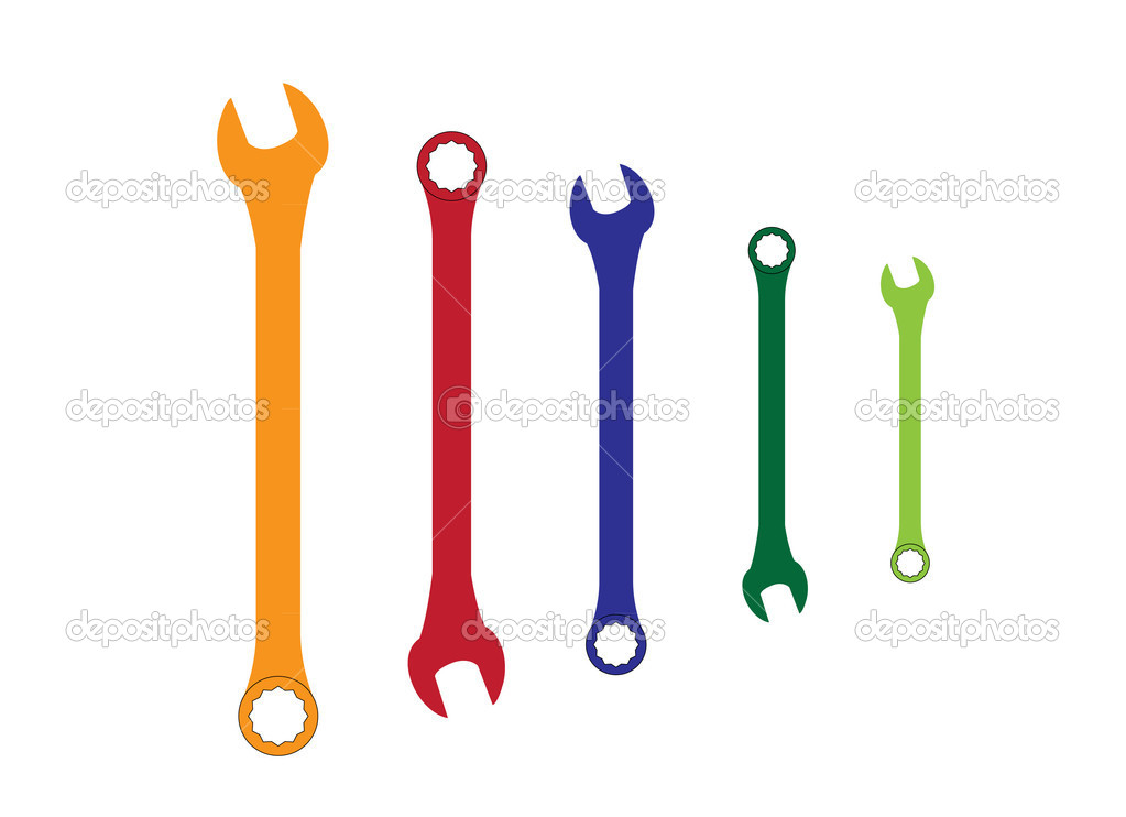 Stainless steel spanners silhouette illustration  Stock Vector #6833281