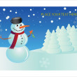 Snowman postcard - Stock Vector