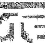 Weapons fingerprint silhouette — Stock Vector