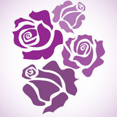 Four violet roses — Stock Vector