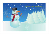 Snowman postcard — Stock Vector
