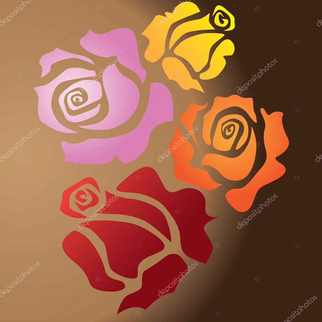 四朵玫瑰 — 图库矢量图像08
