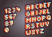 3D Pixel alphabet — Stock Vector