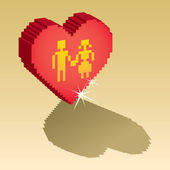Couple in pixel heart — Vettoriale Stock