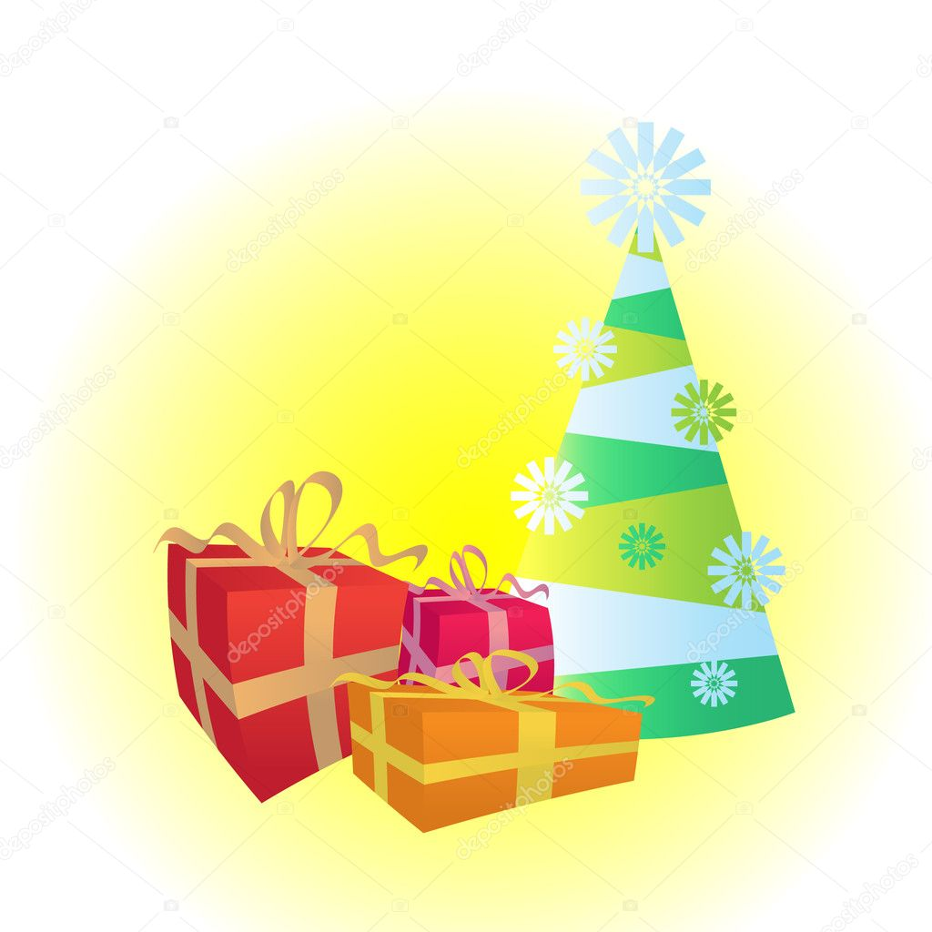 Christmas tree and gifts - illustration — Stock Vector #7611455