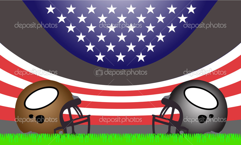 Football, ball, sports, athletes, games, fantasy, helmets, stadium, U.S.A., flag, strips, stars, grass, field  Stock Vector #7322576