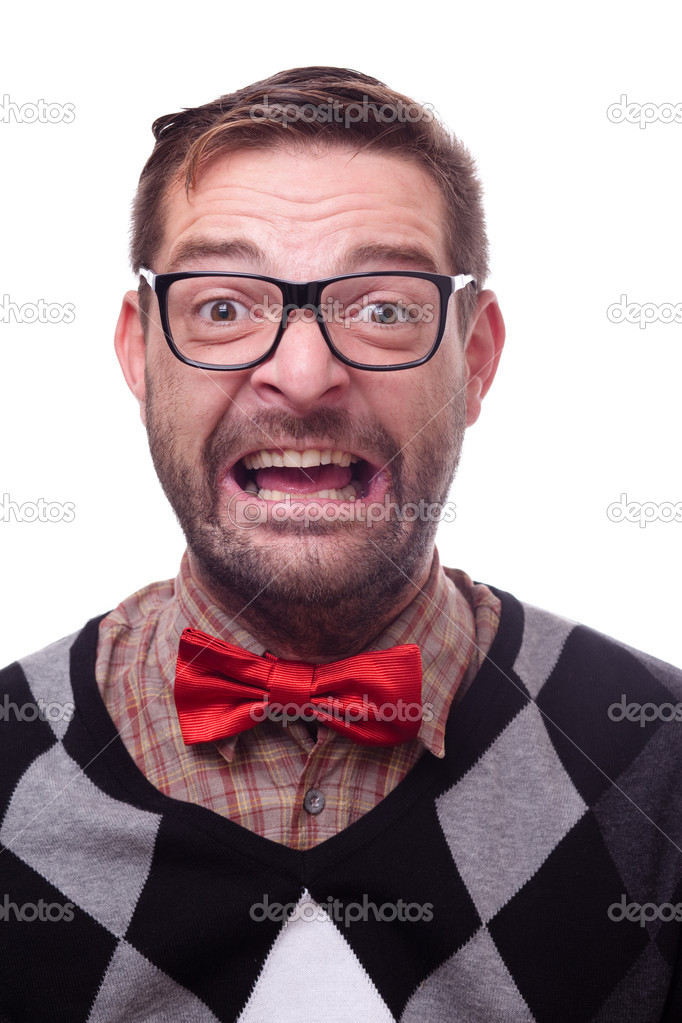 Happy geek laughing hysterically. Nerd series.  — Stock Photo #7330069