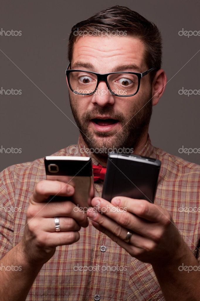 Funny enthusiastic nerdy guy  — Foto Stock #7330437