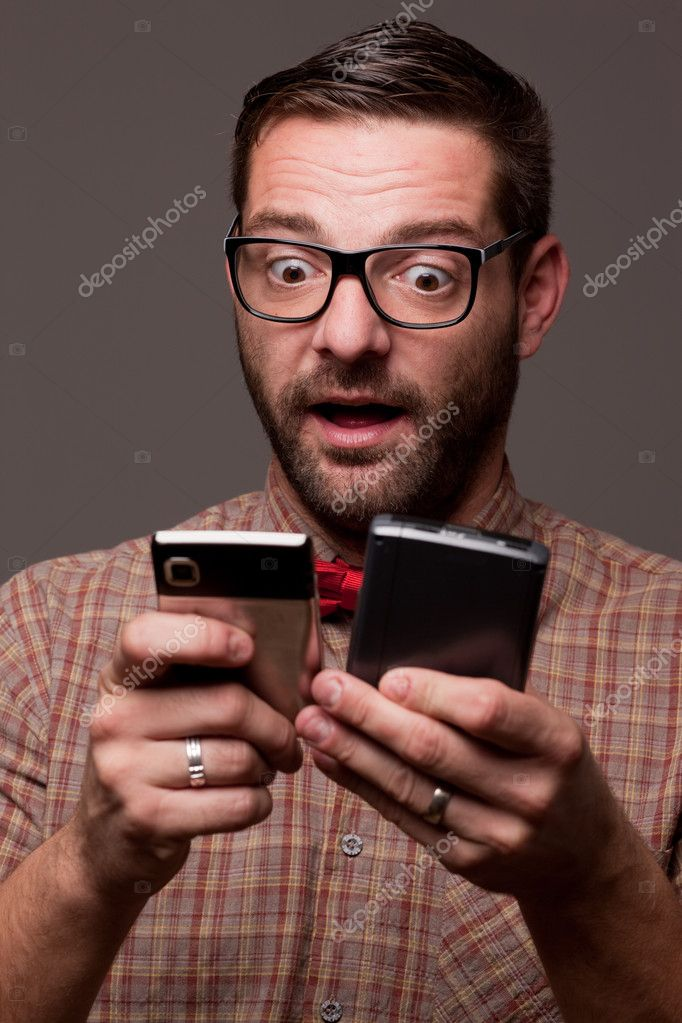 Funny enthusiastic nerdy guy   Foto Stock #7330437