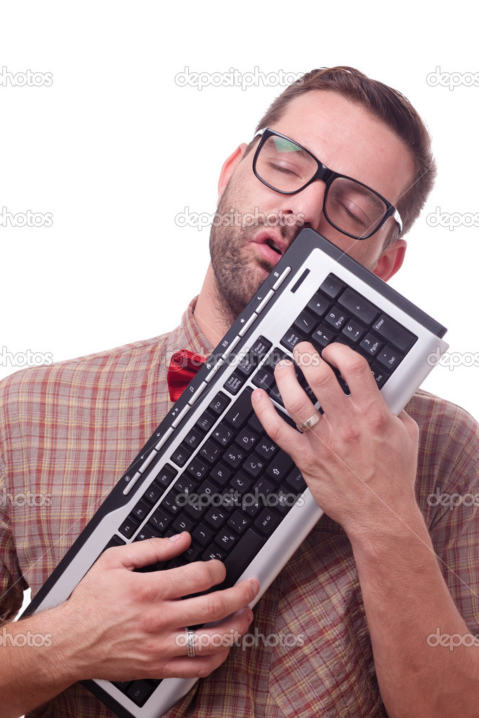 Geek in love with his keyboard — Stockfoto #7330529