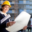 Young female architect/construction engineer — Foto de Stock