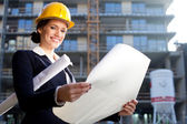 Young female architect/construction engineer — Stock Photo