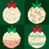 Assorted Popcorn Christmas Globes — Stock Photo