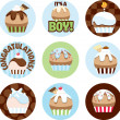 Illustrated Cupcake Circles For Boys — Stock Photo