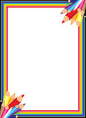 Colorful Rainbow Pencil Border — Stock Vector