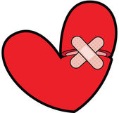Broken Heart With Bandaid — Stock Photo