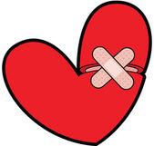 Zlomené srdce s bandaid — Stock fotografie