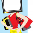 Shopping Woman With A Television Set Head — Stock Photo #7119966