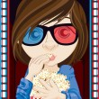 Royalty-Free Stock Photo: Girl Wearing 3D Glasses And Eating Popcorn