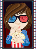 Girl Wearing 3D Glasses And Eating Popcorn — Stock Photo
