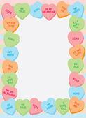 рамка сердце конфеты — Cтоковый вектор