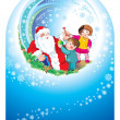 Santa happy children — Stockfoto