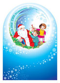 Santa happy children — 图库照片
