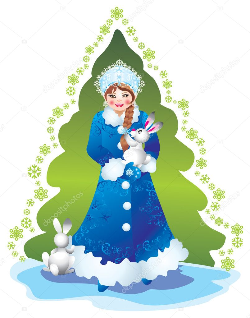 Christmas Card Snow Maiden — Stock Photo #6874343