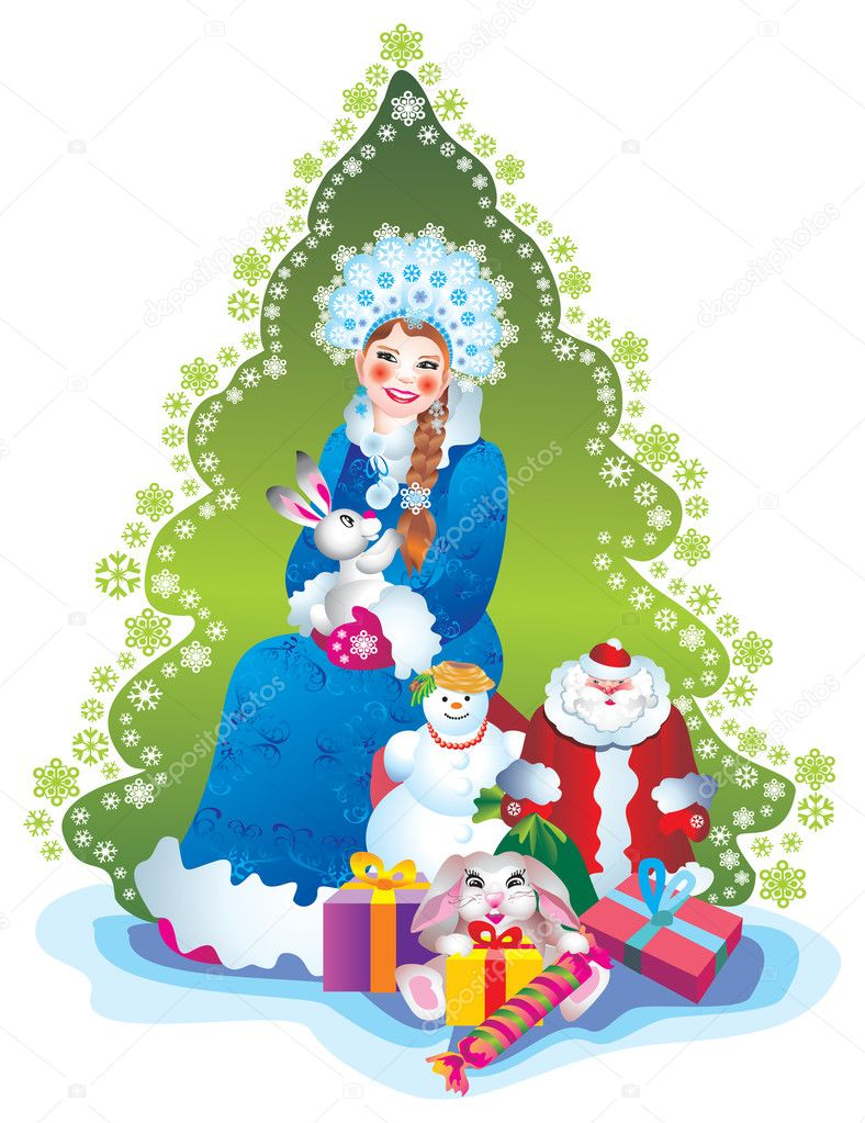 Christmas Card Snow Maiden — Stock Photo #6874513