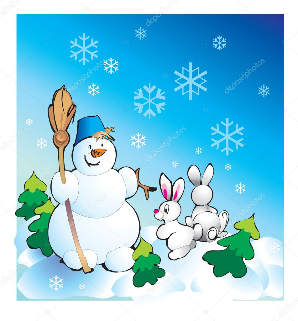 Snowman and Hares — Stock Photo #6874528