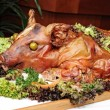 Garnished with roasted pig — Stock Photo