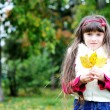 Portrait of cute little girl in autumn forest — Stock Photo #6850591
