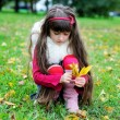 Cute little girl wearing fur coat in autumn forest — Stock Photo #6850605